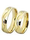 Кольца для пар Классические кольца Цирконий Любовь Pоскошные ювелирные изделия Нержавеющая сталь Позолота Искусственный бриллиантКруглый