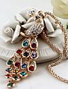 Женский Ожерелья с подвесками павлин Хрусталь Стразы Сплав Elegant Цветной Бижутерия Для Для вечеринок Повседневные