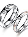 Amantes do vintage de aço inoxidável simples Anéis Inglês Casal (2 peças)