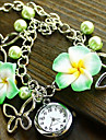 Mulheres Relógio de Moda Bracele Relógio Quartzo Aço Inoxidável Banda Flor Preta Azul Verde Rosa Roxa Roxo Amarelo Verde Azul Rosa claro