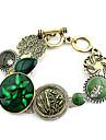 Мода Золотой Зеленый самоцвет цветочным узором браслет (1 шт)