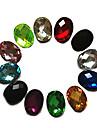 24PCS Mixs 색깔 반짝임 타원형 모조 다이아몬드 못 예술 훈장