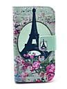 Capa de Couro Rosa Torre Eiffel Padrão PU com Titular e Suporte para Samsung Galaxy Ace 2 I8160