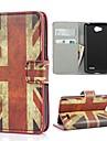 Le cas de modèle de l'Union Jack Cover avec fente pour carte et stand pour LG L70 D320