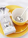 """""""Hora do chá"""" infusor de chá de aço inoxidável coração na caixa de presente branca elegante, w16.5cm xl5cm"""