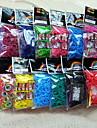 arco-íris colorido tear tecer pulseira elástico bag (600 pcs bandas + 24 pcs C ou S + 1 clipes de gancho)