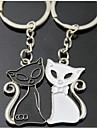 (Um par) preto e branco Jogo interessante Alto grau de aço inoxidável Keychain Símbolo do amor
