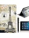 Eiffel et Timbres Motif cuir PU corps entier avec support et un Stylet tactile pour iPad Air