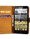 Preto Couro genuíno Telefone Case Bolsa para Lenovo P780, Stands com 2 titulares de cartão