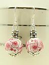 Классический розовый цветок Керамические Серебряный серьги падение (1 пара)