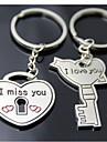 (Une paire) clé et la serrure intéressante de haute qualité en acier inoxydable Porte-clés Symbole de l'amour