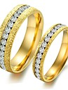 Fashion Single Row Drilling Titanium Gold Pearl Sand Ring Steel Couples Love Gift