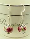 Vintage Red Flower Pattern Ceramic Bead Drop Earrings(1 Pair)