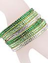 кожаный браслет многослойные зеленый горный хрусталь браслет