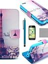COCO FUN Tour Eiffel ® Dans Motif Nuit PU étui en cuir complet du corps avec le protecteur d'écran, stylet et Stand pour iPhone 5C