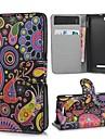 Colorful Pintura Padrão Capa de Couro PU com Magnetic Snap e slot para cartão de Sony Xperia M c1905