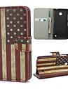 노키아 Lumia를 630를위한 대 및 카드 구멍을 가진 레트로 미국 미국 국기 가죽 지갑 상자