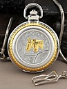 Men's Two Horses Style Round Roman Numerals Dial Quartz Analog Pocket Watch Cool Watch Unique Watch