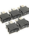 HONGJU T85 2-Pin Rocker Boat Switch - Black (5 PCS)