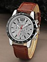 Men Sport Round Dial Leather Band Dress Quartz Analog Watch Cool Watch Unique Watch