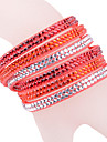 Leather Bracelet Multilayer Red Rhinestone Bracelet