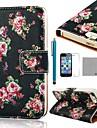 Affaire Full Body Motif COCO FUN ® Black Rose PU cuir avec Film, Stand et un stylet pour iPhone 5/5S
