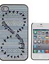 Кейс из искусственной кожи для iPhone 4/4S с надписью и дикими утками на задней панели