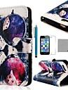 Коко FUN ® очки Cat шаблон PU кожаный чехол всего тела с кино, стенд и стилус для iPhone 5/5S
