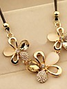 Champagne Color Rhinestone Rope Statement Flower Necklace with Diamond
