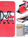 Doff Beer Pattern Clamshell PU Leather Full Body Case with Card Slot for iPhone 4/4S