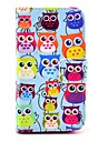 COCO ® FUN bonito colorido Coruja Padrão PU Leather Case Full Body Com Filme, Stand And Stylus para iPhone 4/4S