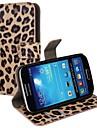 Leopard Print PU Leather Case Full Body com alça e etiqueta para Samsung Galaxy S4 Mini I9190