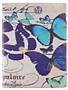 아이 패드 2/3/4를위한 스탠드와 PU 가죽 케이스를 회전 많은 나비 패턴 360도