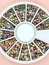 1200pcs tamanho misto 3d rodada colorido roda pregos liga nail art decoração