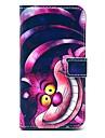 padrão legal gato dos desenhos animados de couro pu caso de corpo inteiro com slot para cartão de i9600 samsung galaxy s5