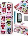 Коко FUN ® Красочные Симпатичные Сова PU кожаный чехол всего тела с экрана протектор, стенд и стилус для iPhone 4/4S