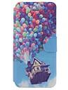 아이폰 5/5S위한 카드 구멍을 가진 만화 풍선 샬레 패턴 전신 케이스