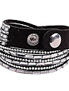 Multilayer Clear Rhinestone Leather Bracelet