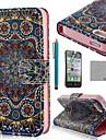 COCO FUN ® étui en Full Body Tribal d'or en cuir PU avec le protecteur d'écran, stand et un stylet pour iPhone 4/4S