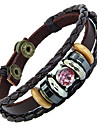этническая для семейной пары 20см мужской коричневый кожаный кожаный браслет (голубой, розовый) (1 шт)