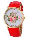 relógio padrão de flor estilo de moda pu banda de pulso de quartzo das mulheres (cores sortidas)