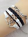 à double coeur vintage love8 18cm unisexe bracelet enveloppe en cuir (1 pc)