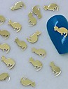 200PCS Golden Cat Design Metal Slice Nail Art Decoration