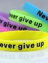 lureme®never отказаться от серебристых печати Силиконовый браслет браслет (случайный цвет) ювелирные изделия