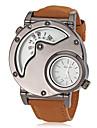 Masculino Relógio Militar Quartzo Quartzo Japonês Dois Fusos Horários Couro Banda Marrom Branco Preto Marron