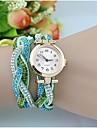 여성용 패션 시계 팔찌 시계 석영 모조 다이아몬드 PU 밴드 스파클 보헤미안 우아한 블랙 화이트 블루 카키