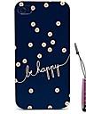 azul padrão de flores mandala caso difícil&caneta de toque para iPhone 4 / 4S