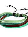 мода переплетения рукотворный 20см унисекс многоцветный кожа кожаный браслет (кофе, фиолетовый, зеленый) (1 шт)
