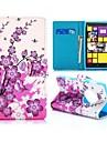 jolie fleurs de prunier style de portefeuille stand de rabat magnétique TPU et PU étui en cuir pour Nokia Lumia 1020 (couleurs assorties)