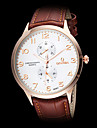 Men's Dress Style Leather Band Quartz Wrist Watch (Assorted Colors) Cool Watch Unique Watch